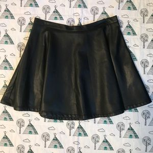 Forever 21 Black Faux Leather High-Waisted Skirt